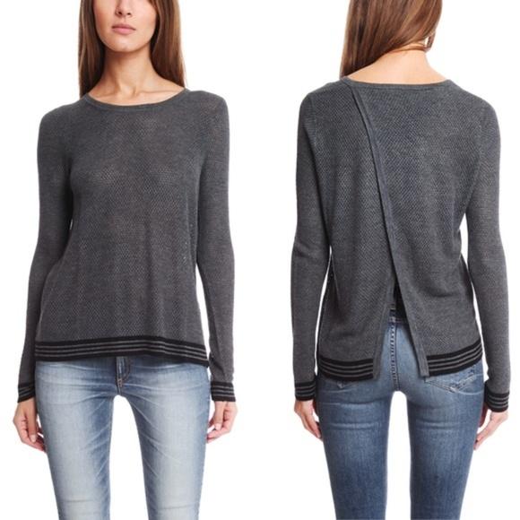 d4fd3d5a5d0 Rag   Bone Nikki Split Back Gray Pullover Sweater.  M 5be729dd2beb79fb96f20306